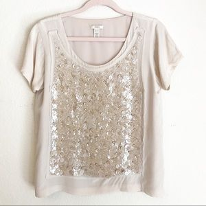 J. Crew Silk & Sequin Top